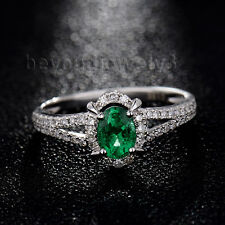 Solid 18K  White Gold Green Emerald Engagement Wedding Diamond Gemstone Ring