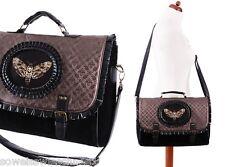 Restyle Handtasche  Samt Moth Steampunk Tasche Satchel Gothic Bag A4 Brown