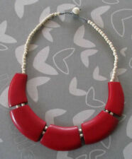 Red Large Wedge Shaped Pieces/Cream Bead Wood Necklace
