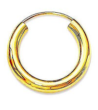 MENS 925 STERLING SILVER GOLD PLATED HINGED HOOP/SLEEPER 3mm x 14m  x 1 EARRING