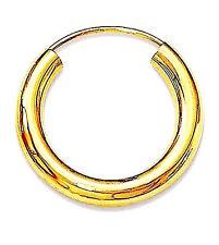 MENS 925 STERLING SILVER GOLD PLATED HINGED HOOP/SLEEPER 3mm x 14m  x 1 EARRING