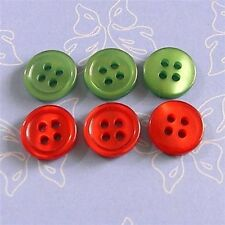 100 Wholesale Mixed lot Christmas Decor X'mas Sew Buttons Red & Green 10mm S239