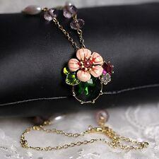 Collar Colgante Flor Esmalte Rosa Hoja Verde Cristal Perla Noche Matrimonio L8