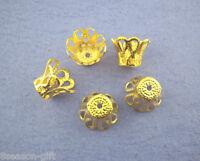 260 Pcs Gold Plated Ornate Filigree Bell Bead Caps 7mm