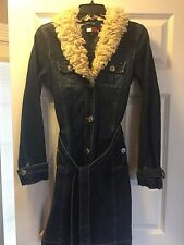 Tommy Hilfiger Denim Long Jean Jacket Trench Coat Faux Fur Collar Women XS