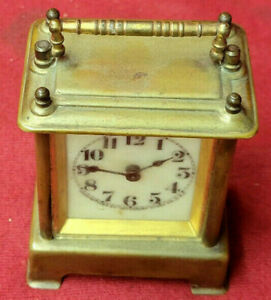 Waterbury Brass Case Carriage Clock With Porcelain Dial