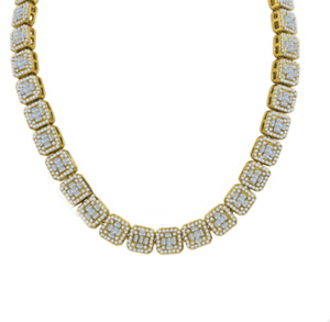 Men's Women's 14k Yellow Gold Simulate Crystals Diamonds Baguette Stone Necklace