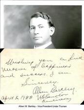 Alben W Barkley Autograph Vice President Senator Kentucky Harry Truman #2