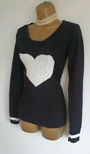 Jane Norman sexy black white heart pattern knitted long sleeve jumper 8-10