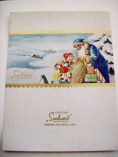 Antique Vintage Candy Label w/ Father Christmas Wearing a Blue Coat (Swiss) *
