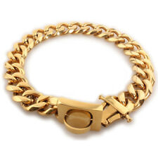 19mm Gold Dog Chain collar for Strong Puppy Pitbull Stainless Steel Chain buckle