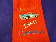 1960 CORVETTE EMBROIDERED HAND TOWEL BY CHRISTINE NEW RED