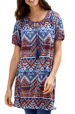 UK Size 8 up to Plus Size 30 Ladies Tunic Dress in Blue Brown or Black 22 Blue