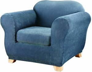 sure fit Stretch Stripe 2 Piece Chair Slipcover Box Cushion navy