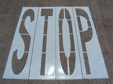 "96"" x 16"" Stop Parking Lot Stencil. (4) Letters 1/16"" Ldpe. Dot / WalMart Font"
