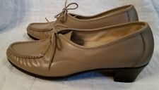 "SAS Taupe Leather Lace Up Walking Shoe 2"" Heel 9.5 Slim NEW"