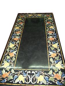"60"" x 36"" black Marble center garden Table Top Pietra Dura Inlay Handmade Work"