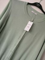 LADIES M&S CLASSIC SIZE 16 MINT GREEN SOFT COTTON STRETCH CARDIGAN FREE POST