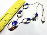 """Navajo Inlaid Lapis & Sterling Silver Squash Style Necklace 20"""" Long"""