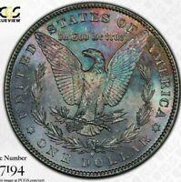 1881-S USA MORGAN SILVER DOLLAR PCGS MS63 TONED BEAUTIFUL COLOR UNC BU (DR)