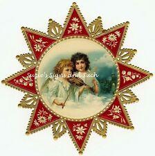 Vintage Victorian Christmas Postcard Printed onto Fabric Victorian Star Angels