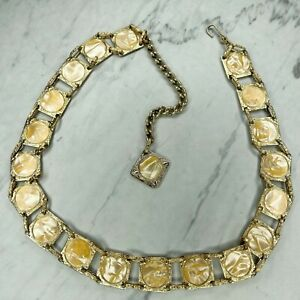 Gold Tone Square Shelly Inlay Belly Body Chain Link Belt Size Small S Medium M