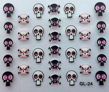 Nail Art 3D Decal Stickers Halloween Skull & Bones with Pink Eyes GL24