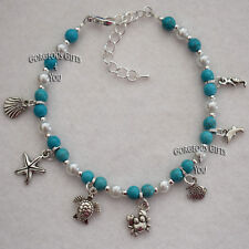 Nautical Turquoise Ocean Sea Life Turtle Shell Starfish Anklet Ankle Bracelet
