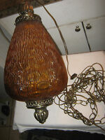 Vintage Retro Orange Glass Bulb Pendant Hanging Swag Light Fixture Lamp - Works
