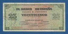 ESPAÑA // SPAIN -- 25 PESETAS ( 1938 ) -- MBC+ // VF+ -- SERIE C -- PICK 111a .