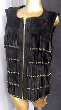 BEREK Studded Fringed Black Leather Suede Zip Vest Jacket Moto Biker Coat Sz L