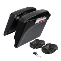 "5"" Stretched Extended Saddle Bags Saddlebags + Speakers For Harley Touring 93-13"