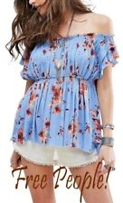 NEW! Free People Womens Sky Combo Off the Shoulder Floral Blouse Size Small