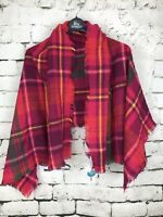 Old Navy Women's Pink Plaid Frayed Hem Blanket Scarf Fall Fashion New With Tags