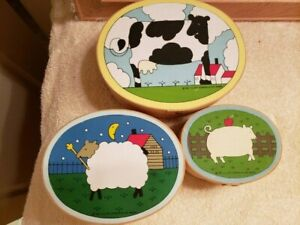 3 Nesting Oval Boxes Cardboard Cow Sheep Pig Country Farm Lillian Vernon 1982 FS