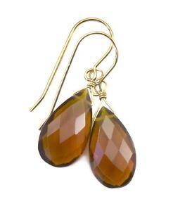 Citrine Earrings Dark Yellow Sim Madeira Teardrops Simple Drop 14k Gold Sterling