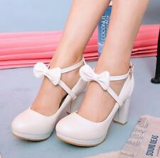 Women's Bowtie Mary Janes Shoes Sweet Strappy Lolita Chunky Block Heel Shoes