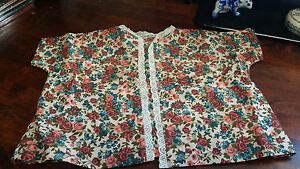 Vintage Hand Made Doll Jacket In A Colorful Floral Pattern with Lace Trim