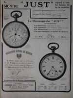 PUBLICITÉ PRESSE 1911 LA MONTRE ET CHRONOGRAPHE JUST RECORD MONDIAL CHRONOMÈTRE