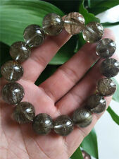 AAAAA 16mm Natural Silver Rutilated Quartz Crystal Stretch Beads Bracelet
