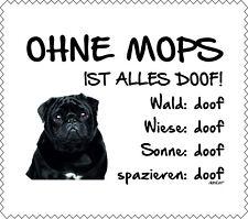 """Displayreinigunstuch Mops schwarz """"ALLES DOOF"""" Brillenputztuch Hund NEU"""