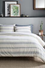 Pendleton Ticking Stripe Duvet Set Cover Shams Full Queen NIP Ivory Blue $199