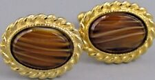 Excellent Mens Tiger Eye CUFFLINKS Costume Vintage Jewelry O 11