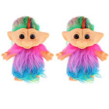 Colorful 2pcs Dollhouse Figures Vintage Lucky Troll Dolls Collections Gifts