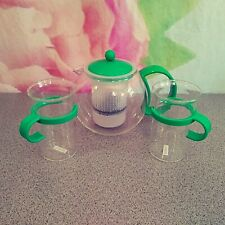 Bodum Round Coffee French Press W/ 2 Glasses Cups MCM Glass W/Green  Handles VTG