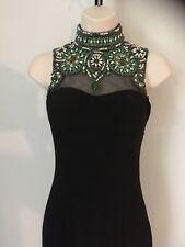 SHERRI HILL Formal Dress Black High-Neck Beautifully Beaded Bodice Prom Sz 00