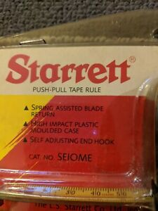 Starrett Push-pull Tape Rule Measuring Tape 3m/10 Feet. Vintage, New In...