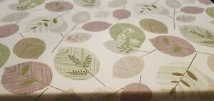 Large Abstract Green Leaves Stems Natural Brown PVC Plastic Vinyl Table Cloth