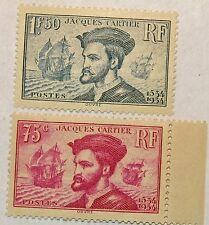 FRANCE N° 296/297 PAIRE JACQUES CARTIER NEUVE ** SANS CHARNIERE COTE 300 €