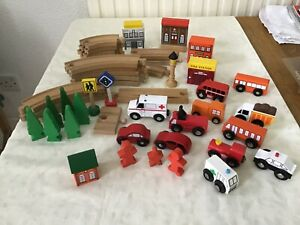 Wooden track and vehicles / accessories 43 pieces in total